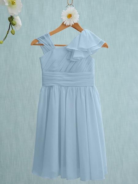 Sheath / Column Straps Knee Length Chiffon Junior Bridesmaid Dress With Ruffles / Side Draping / Natural_30