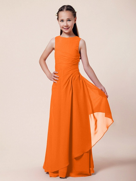 A-Line / Sheath / Column Bateau Neck Floor Length Chiffon Junior Bridesmaid Dress With Beading / Side Draping / Spring / Summer / Fall / Winter / Wedding Party_12