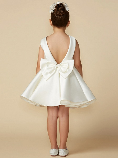 Princess Above Knee Wedding / First Communion Satin Sleeveless Jewel Neck With Bows_2