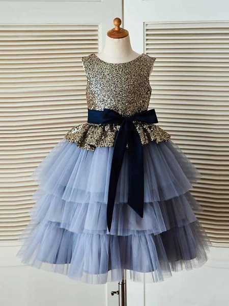 Ball Gown Tea Length Pageant Flower Girl Dresses - Tulle / Sequined Sleeveless Jewel Neck With Sash / Ribbon_1