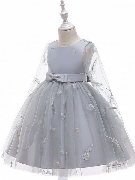 Princess / Ball Gown Knee Length Wedding / Party Flower Girl Dresses - Tulle Long Sleeve Jewel Neck With Sash / Ribbon / Bow(S) / Pattern / Print_8