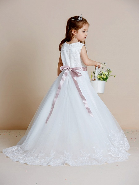 A-Line Floor Length Wedding / First Communion Flower Girl Dresses - Satin / Tulle Sleeveless Jewel Neck With Sash / Ribbon / Bow(S) / Appliques_2