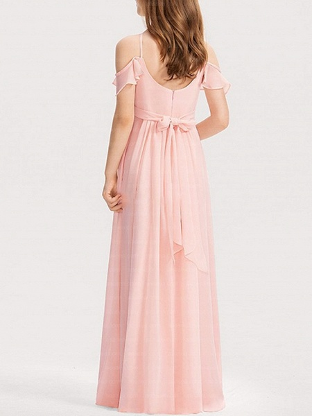 A-Line Floor Length Pageant Flower Girl Dresses - Polyester Short Sleeve Spaghetti Strap With Bow(S)_3