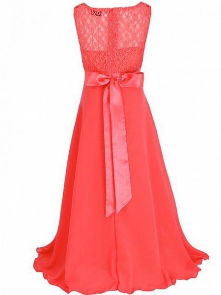 A-Line Floor Length Wedding / Party Flower Girl Dresses - Chiffon / Lace Sleeveless Jewel Neck With Sash / Ribbon_6
