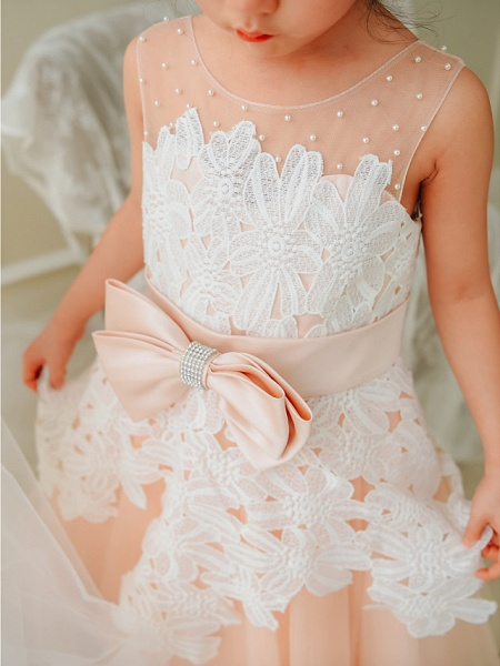 Ball Gown Tea Length Wedding / Birthday / Pageant Flower Girl Dresses - Lace / Tulle Sleeveless Jewel Neck With Bows / Pearls_4