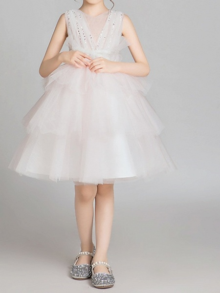Princess Knee Length Pageant Flower Girl Dresses - Lace Sleeveless Jewel Neck With Bow(S)_1