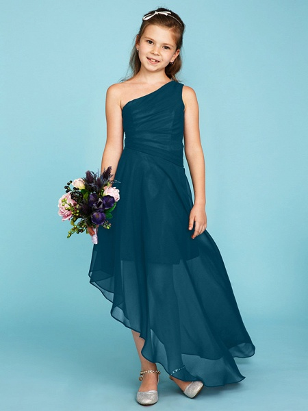 A-Line One Shoulder Asymmetrical Chiffon Junior Bridesmaid Dress With Side Draping / Wedding Party_44