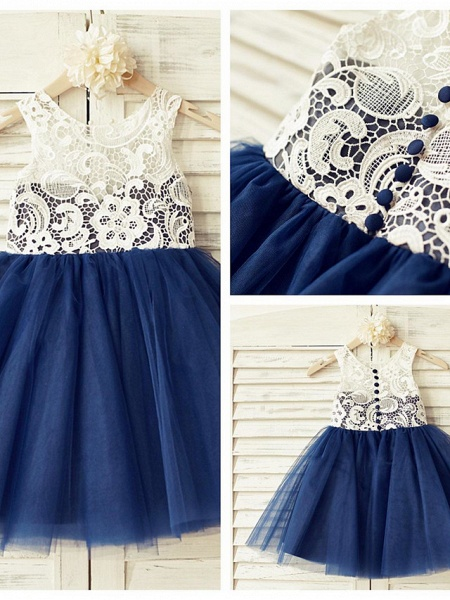 A-Line Knee Length Pageant Flower Girl Dresses - Lace / Tulle Sleeveless Jewel Neck With Lace / Pleats_5