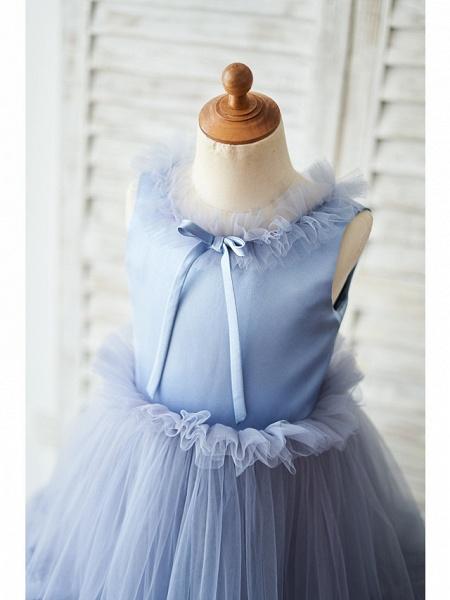Ball Gown Floor Length Wedding / Birthday Flower Girl Dresses - Satin / Tulle Sleeveless Jewel Neck With Bow(S)_3