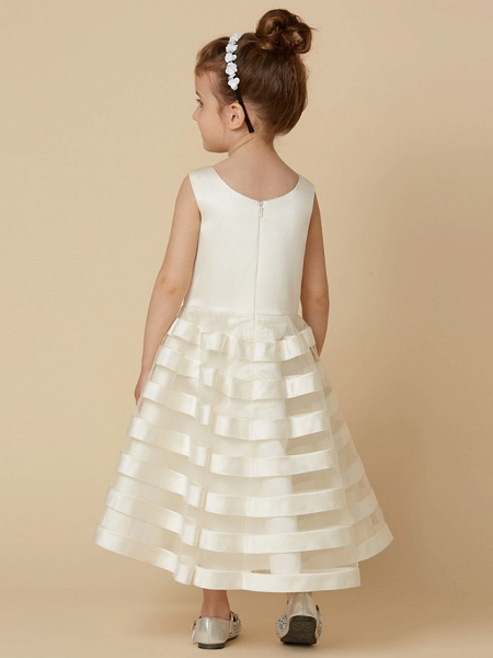 A-Line Tea Length Wedding / First Communion Flower Girl Dresses - Satin / Tulle Sleeveless Jewel Neck With Bow(S)_2