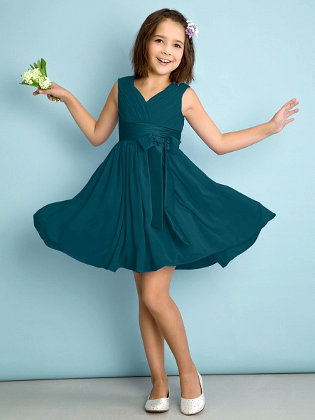 A-Line V Neck Knee Length Chiffon Junior Bridesmaid Dress With Bow(S) / Criss Cross / Natural_34