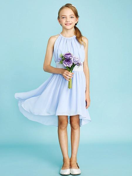 Sheath / Column Jewel Neck Asymmetrical Chiffon Junior Bridesmaid Dress With Sequin / Natural_6