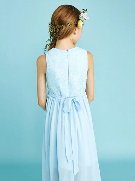 Sheath / Column Jewel Neck Asymmetrical Chiffon / Lace Junior Bridesmaid Dress With Pleats / Natural_9