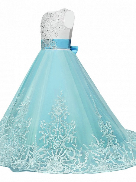 Princess Maxi Wedding / Birthday / Pageant Flower Girl Dresses - Lace / Tulle Sleeveless Jewel Neck With Lace / Bow(S) / Paillette_5