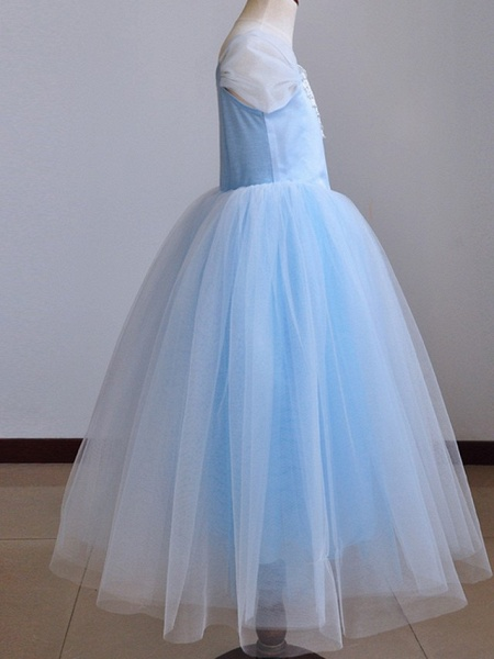 Ball Gown Floor Length Pageant Flower Girl Dresses - Polyester Short Sleeve Spaghetti Strap With Pendant_5