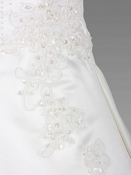 A-Line Court Train / Sweep / Brush Train Wedding / First Communion Flower Girl Dresses - Satin Sleeveless Jewel Neck With Beading / Spring / Summer / Fall / Winter_3