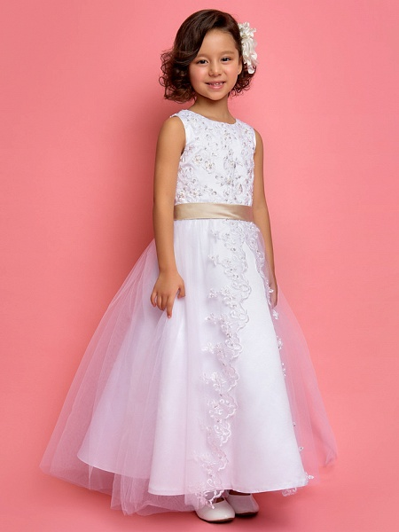 Princess / A-Line Ankle Length Wedding / First Communion Flower Girl Dresses - Satin / Tulle Sleeveless Jewel Neck With Lace / Pearls / Sequin_2