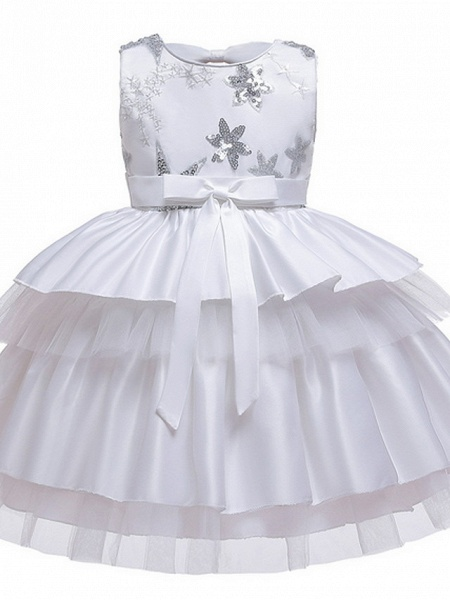 Ball Gown Knee Length Wedding / Party Flower Girl Dresses - Tulle / Mikado Sleeveless Jewel Neck With Bow(S) / Tier / Paillette_4