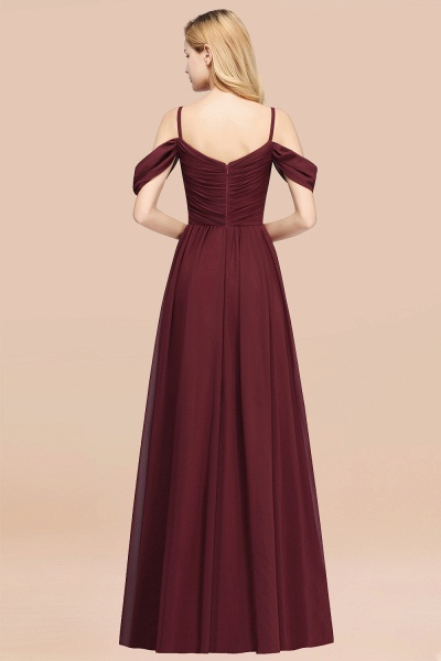 A-Line Chiffon V-Neck Spaghetti Straps Short-Sleeves Floor-Length Bridesmaid Dresses with Ruffles_52