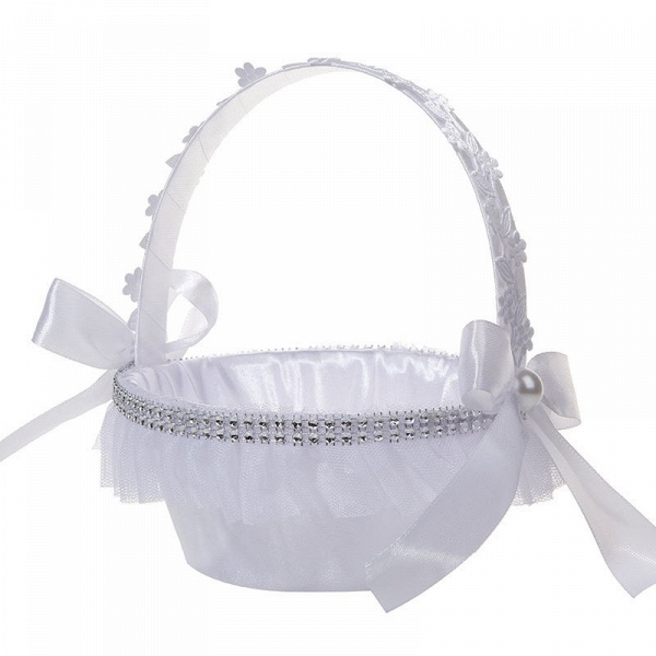 Satin With Pearls Ribbon Flower Basket_4