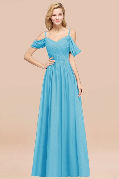 A-Line Chiffon V-Neck Spaghetti Straps Short-Sleeves Floor-Length Bridesmaid Dresses with Ruffles_24