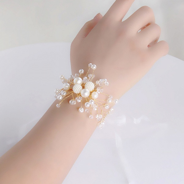 CPA2920 Floral Pearls Flower Girl Ribbon Wristband_2