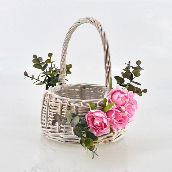 CPA2916 Flower Girl Satin Flower Basket With Bow_3