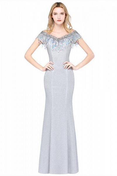 Elegant Jewel Short Sleeves Sequins Evening Dress with Tassels_1