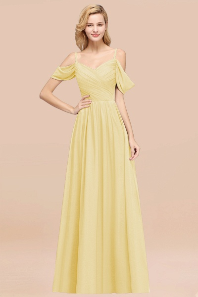 A-Line Chiffon V-Neck Spaghetti Straps Short-Sleeves Floor-Length Bridesmaid Dresses with Ruffles_18