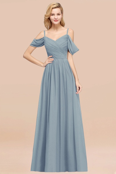 A-Line Chiffon V-Neck Spaghetti Straps Short-Sleeves Floor-Length Bridesmaid Dresses with Ruffles_40