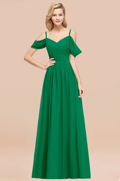 A-Line Chiffon V-Neck Spaghetti Straps Short-Sleeves Floor-Length Bridesmaid Dresses with Ruffles_49