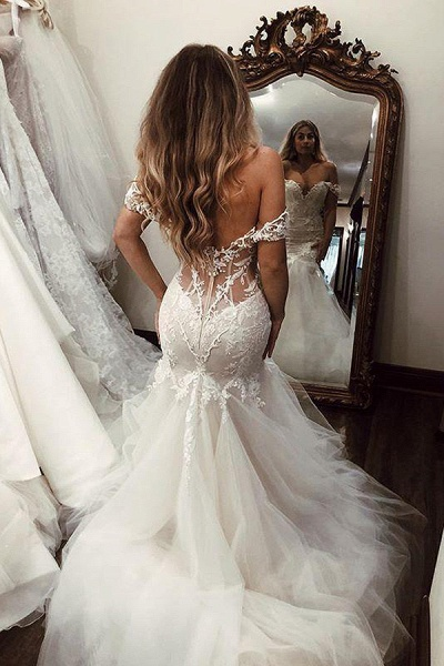 SD2080 Off Shoulder Lace Mermaid Wedding Dresses_5