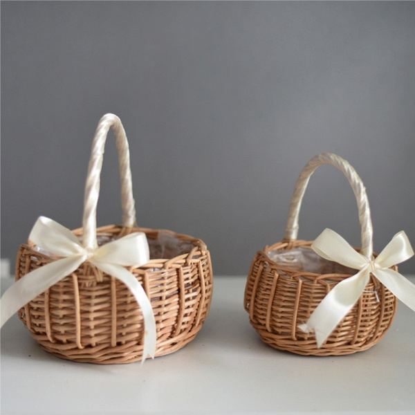 CPA2914 Flower Girl Lace Flower Basket With Bow_3