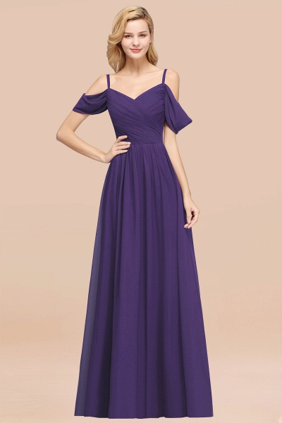 A-Line Chiffon V-Neck Spaghetti Straps Short-Sleeves Floor-Length Bridesmaid Dresses with Ruffles_19