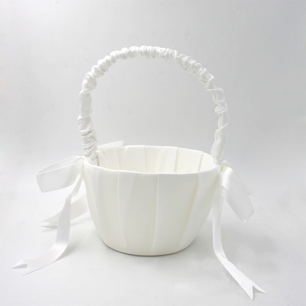 Satin Flower Basket With Bow