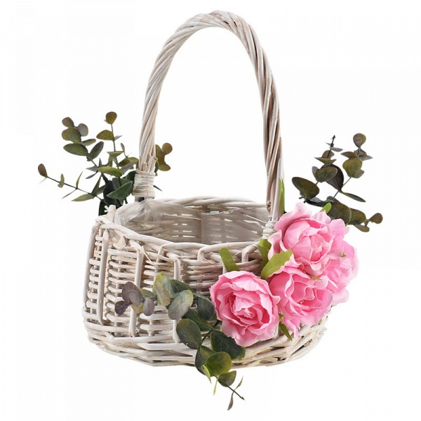 CPA2916 Flower Girl Satin Flower Basket With Bow_4