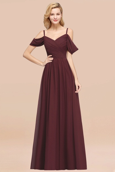 A-Line Chiffon V-Neck Spaghetti Straps Short-Sleeves Floor-Length Bridesmaid Dresses with Ruffles_47