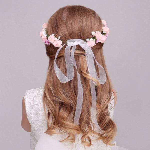Silk Flower Ribbon Headbands with Wrist Corsage_4