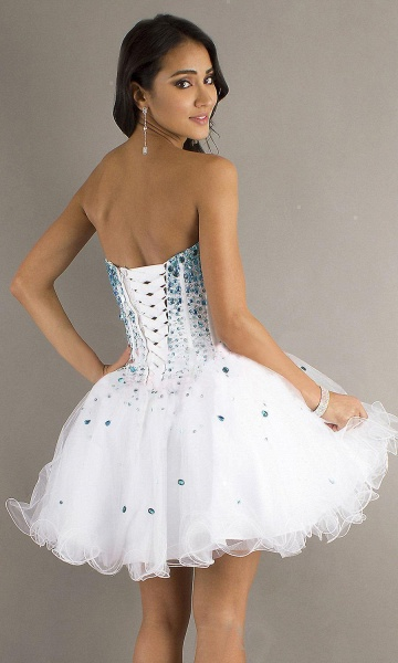 Cute Strapless Tulle Short Homecoming Dress_3