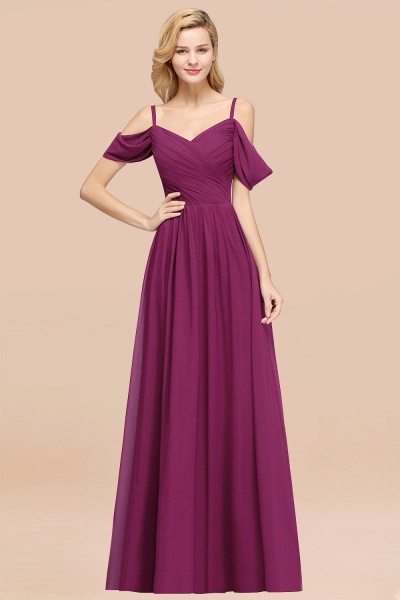 A-Line Chiffon V-Neck Spaghetti Straps Short-Sleeves Floor-Length Bridesmaid Dresses with Ruffles_42