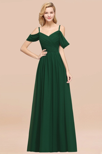 A-Line Chiffon V-Neck Spaghetti Straps Short-Sleeves Floor-Length Bridesmaid Dresses with Ruffles_31