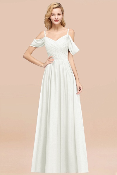 A-Line Chiffon V-Neck Spaghetti Straps Short-Sleeves Floor-Length Bridesmaid Dresses with Ruffles_2