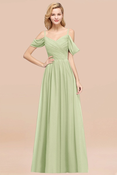 A-Line Chiffon V-Neck Spaghetti Straps Short-Sleeves Floor-Length Bridesmaid Dresses with Ruffles_35