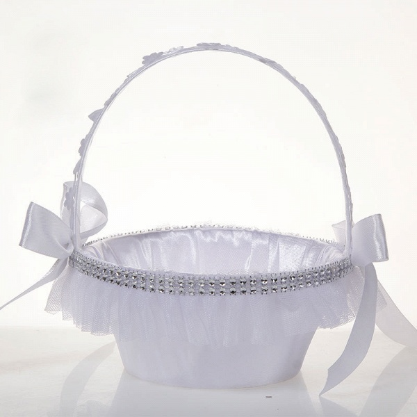 Satin With Pearls Ribbon Flower Basket