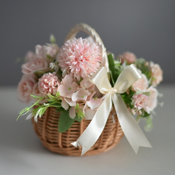 CPA2914 Flower Girl Lace Flower Basket With Bow_1