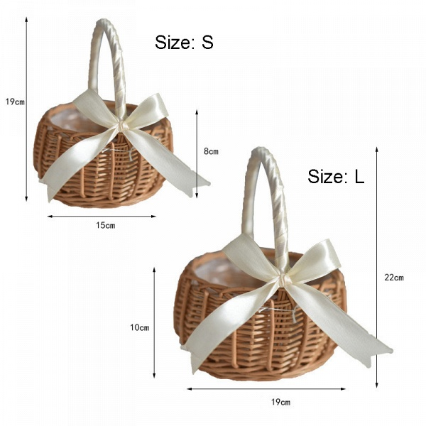 CPA2914 Flower Girl Lace Flower Basket With Bow_6