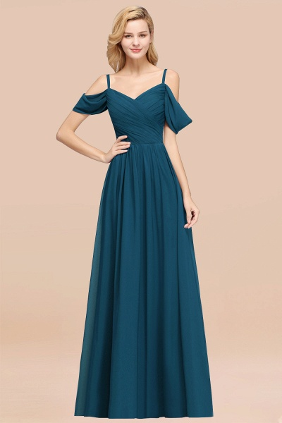 A-Line Chiffon V-Neck Spaghetti Straps Short-Sleeves Floor-Length Bridesmaid Dresses with Ruffles_27
