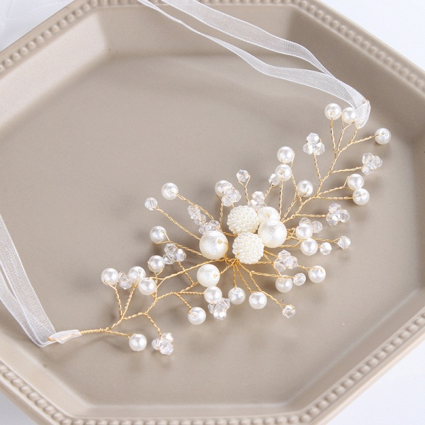 CPA2920 Floral Pearls Flower Girl Ribbon Wristband_1