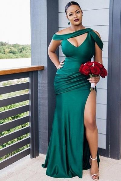 Dark Green Mermaid Side Split Bridesmaid Dresses Mixed Styles_4
