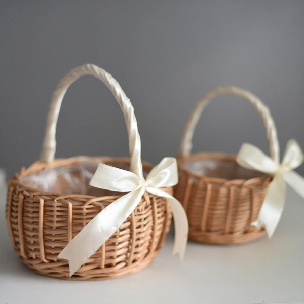 CPA2914 Flower Girl Lace Flower Basket With Bow_2
